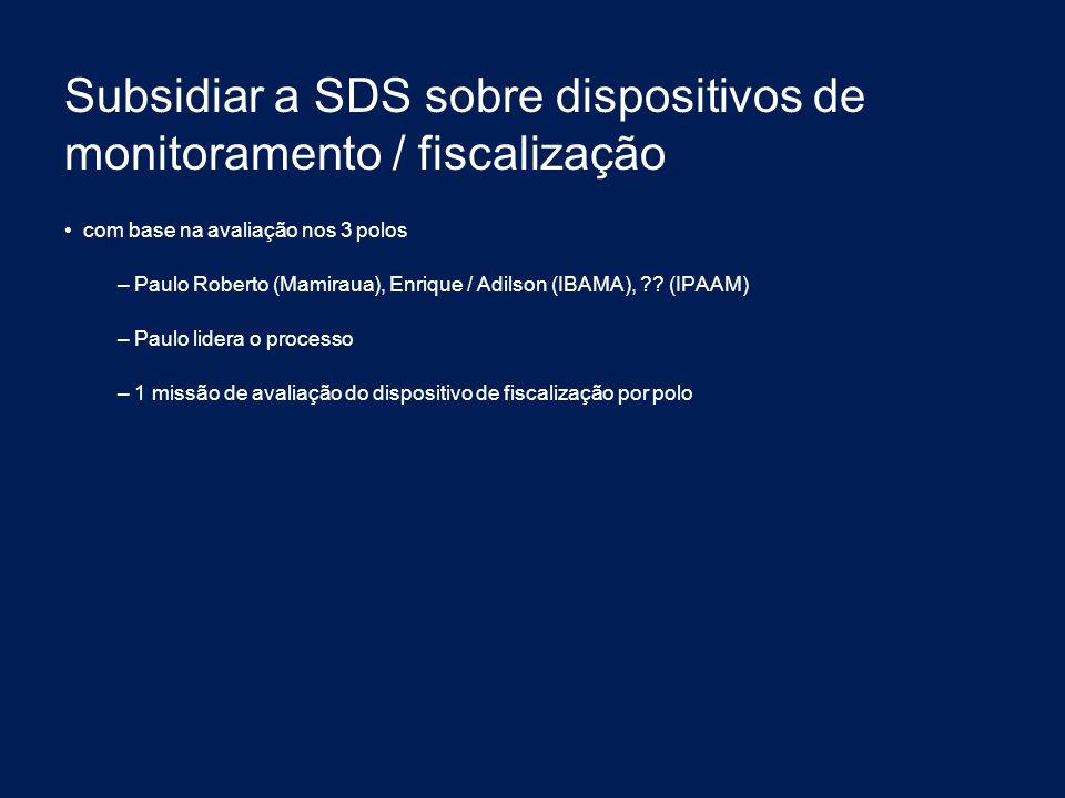 Subsidiar a SDS sobre dispositivos de monitoramento / fiscalização