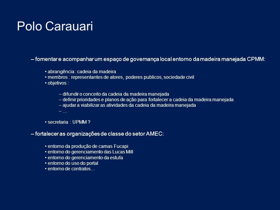 Polo Carauari fomentar e acompanhar um espaço de governança local entorno da madeira manejada CPMM: