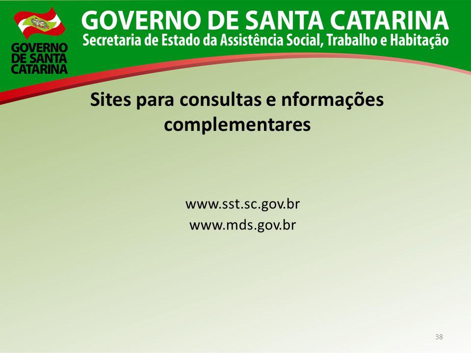 Sites para consultas e nformações complementares