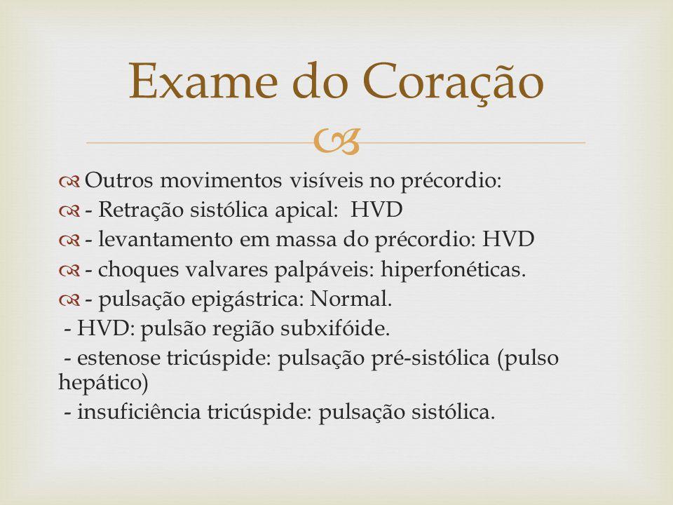 Exame do Coração Outros movimentos visíveis no précordio: