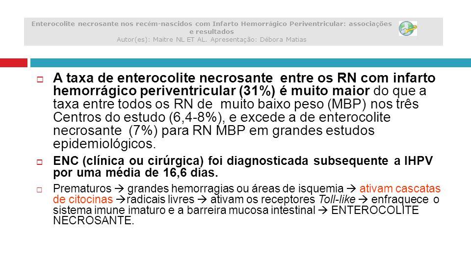 Enterocolite necrosante nos recém-nascidos com Infarto Hemorrágico Periventricular: associações e resultados Autor(es): Maitre NL ET AL. Apresentação: Débora Matias
