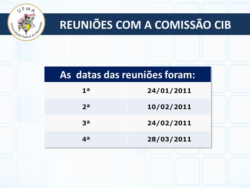 REUNIÕES COM A COMISSÃO CIB As datas das reuniões foram: