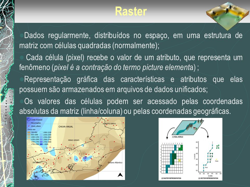 Raster Dados regularmente, distribuídos no espaço, em uma estrutura de matriz com células quadradas (normalmente);