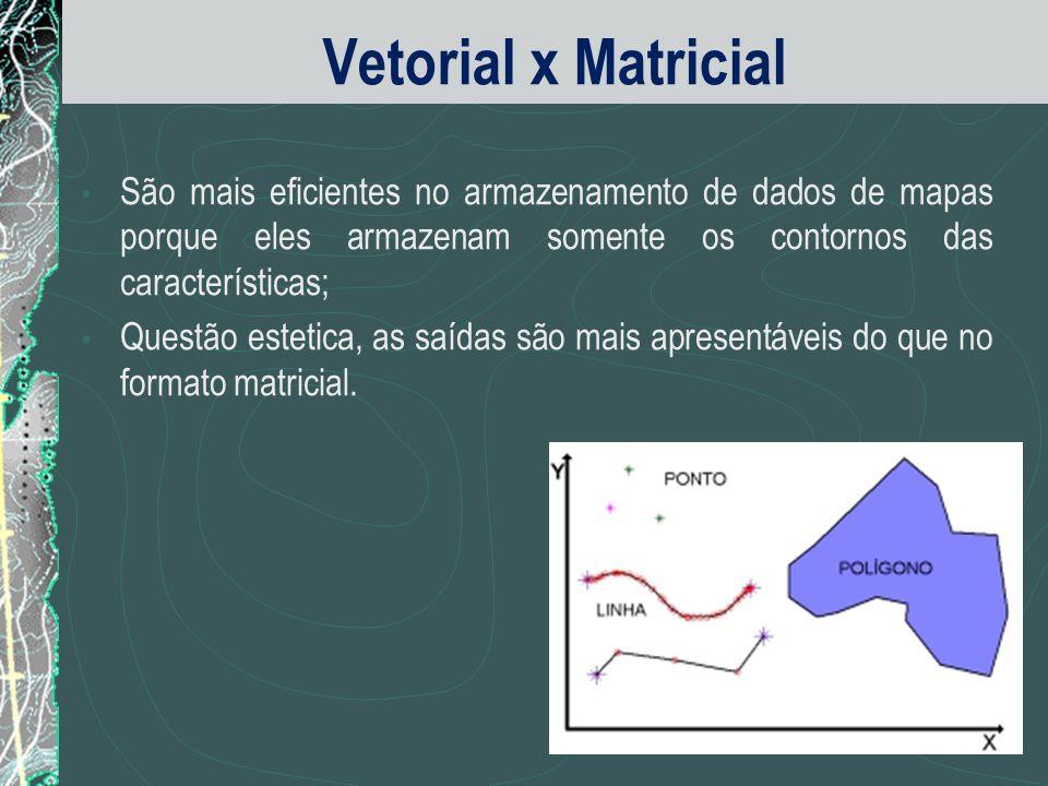 Vetorial x Matricial São mais eficientes no armazenamento de dados de mapas porque eles armazenam somente os contornos das características;