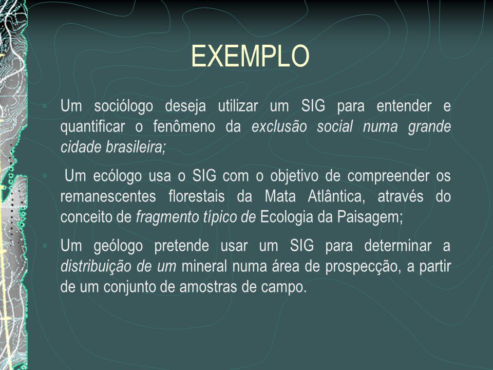 EXEMPLO Um sociólogo deseja utilizar um SIG para entender e quantificar o fenômeno da exclusão social numa grande cidade brasileira;