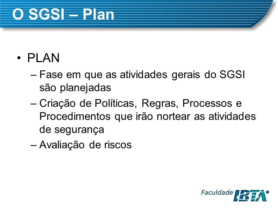 O SGSI – Plan PLAN. Fase em que as atividades gerais do SGSI são planejadas.