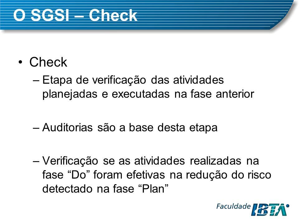 O SGSI – CheckCheck. Etapa de verificação das atividades planejadas e executadas na fase anterior. Auditorias são a base desta etapa.