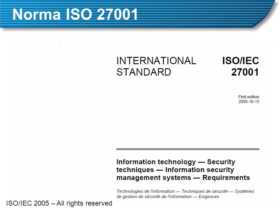 Norma ISO ISO/IEC 2005 – All rights reserved