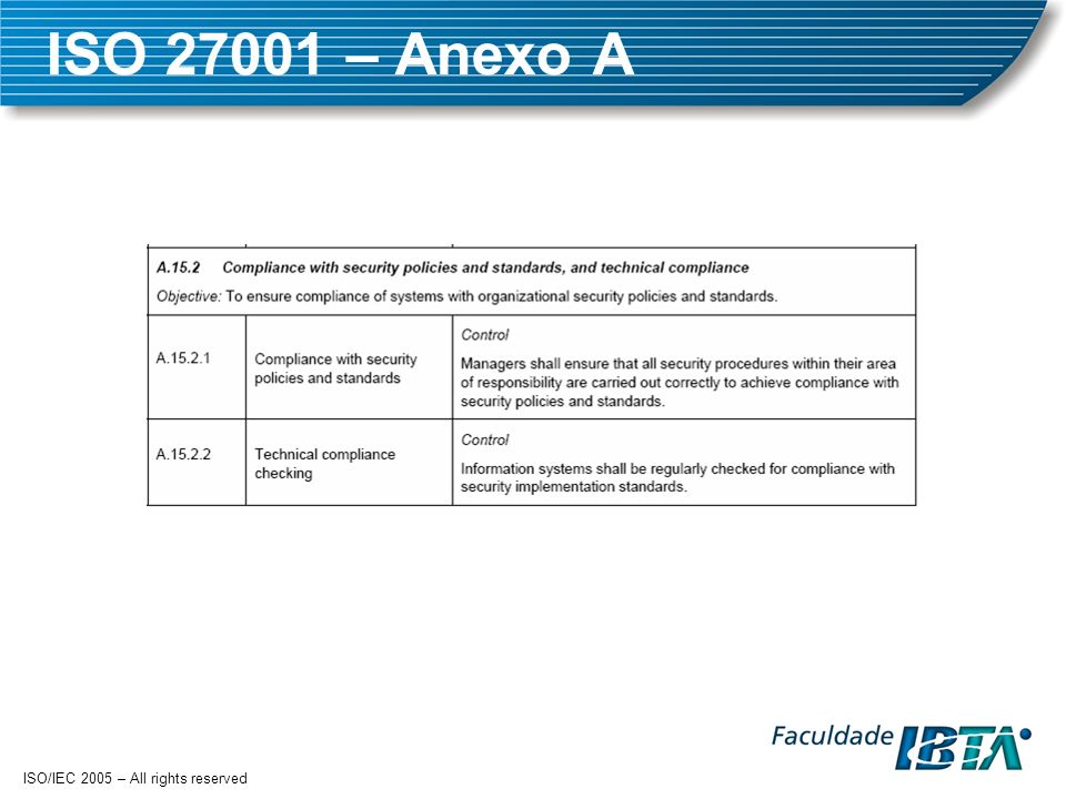 ISO – Anexo A ISO/IEC 2005 – All rights reserved