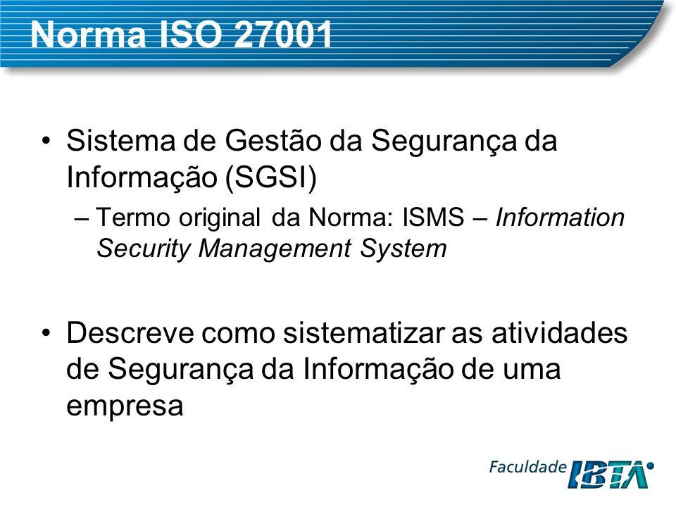 Norma ISO 27001 Sistema de Gestão da Segurança da Informação (SGSI)