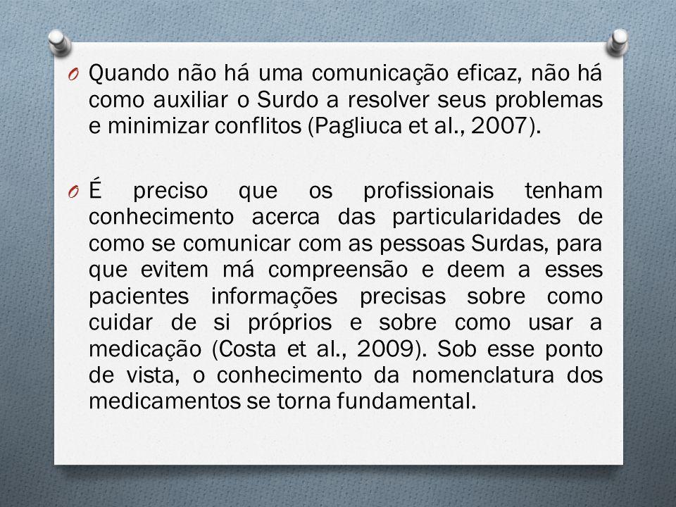 Quando não há uma comunicação eficaz, não há como auxiliar o Surdo a resolver seus problemas e minimizar conflitos (Pagliuca et al., 2007).