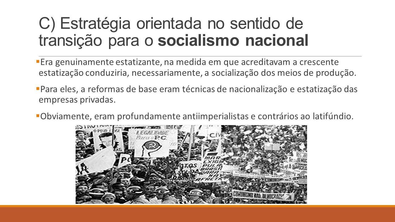 C) Estratégia orientada no sentido de transição para o socialismo nacional