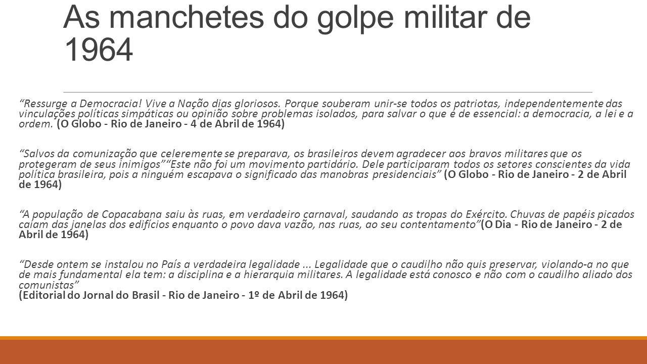 As manchetes do golpe militar de 1964