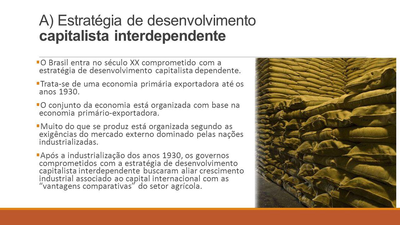 A) Estratégia de desenvolvimento capitalista interdependente