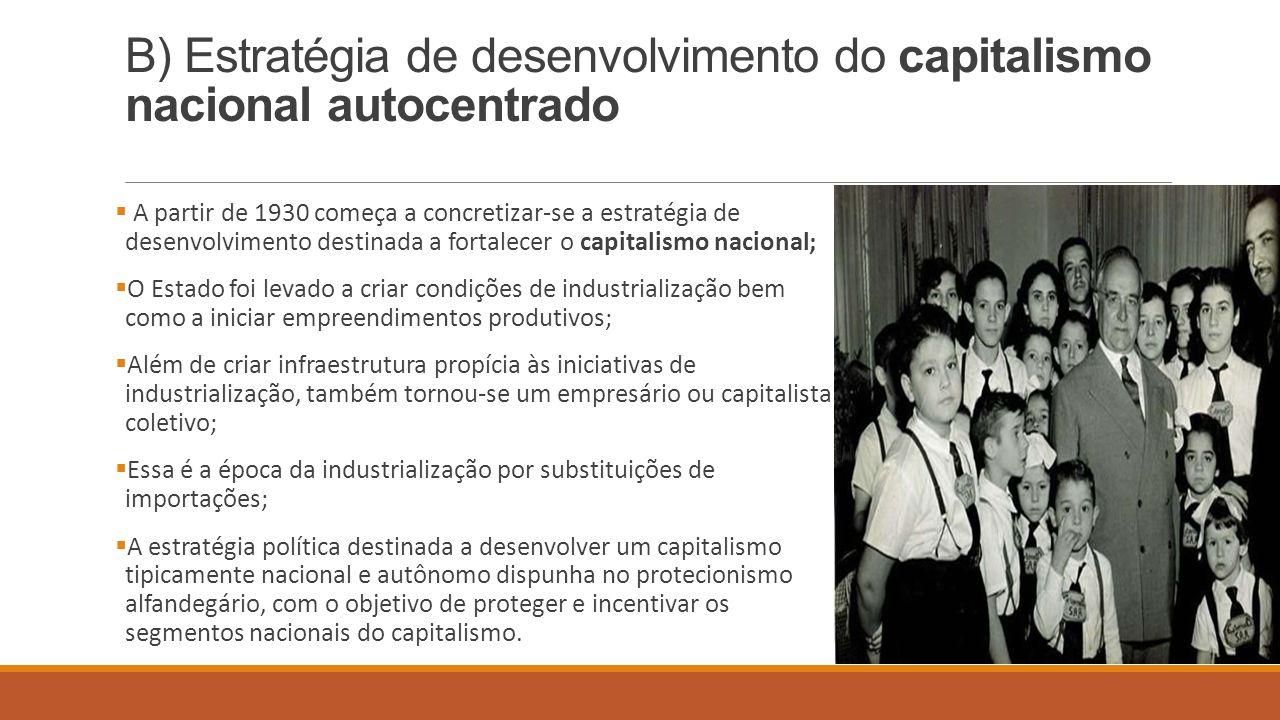 B) Estratégia de desenvolvimento do capitalismo nacional autocentrado