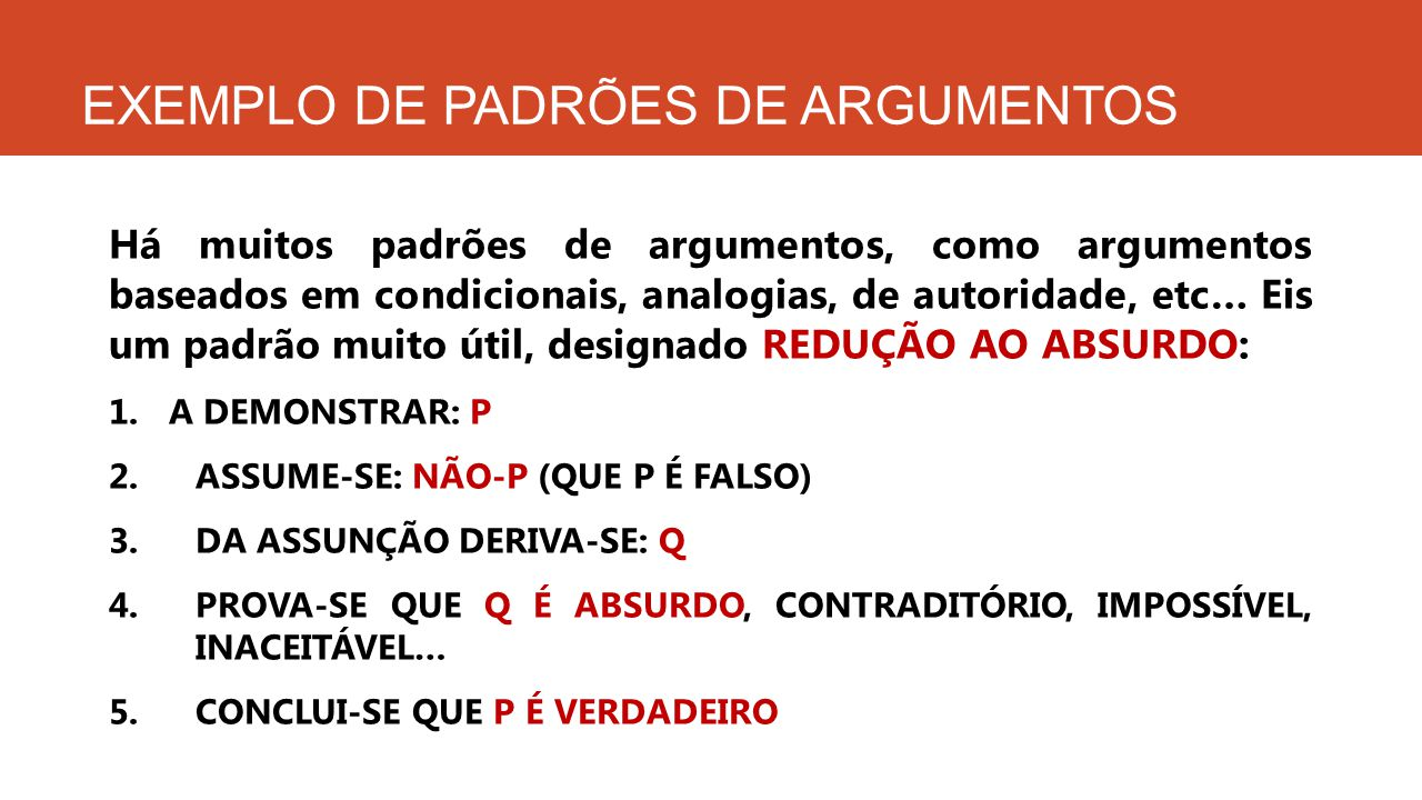 EXEMPLO DE PADRÕES DE ARGUMENTOS