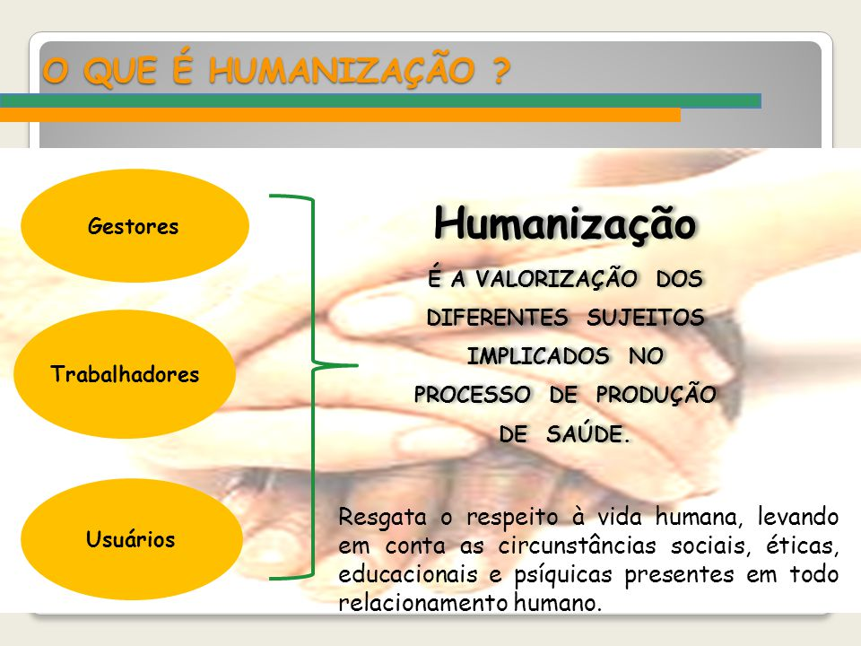 Humanização O QUE É HUMANIZAÇÃO
