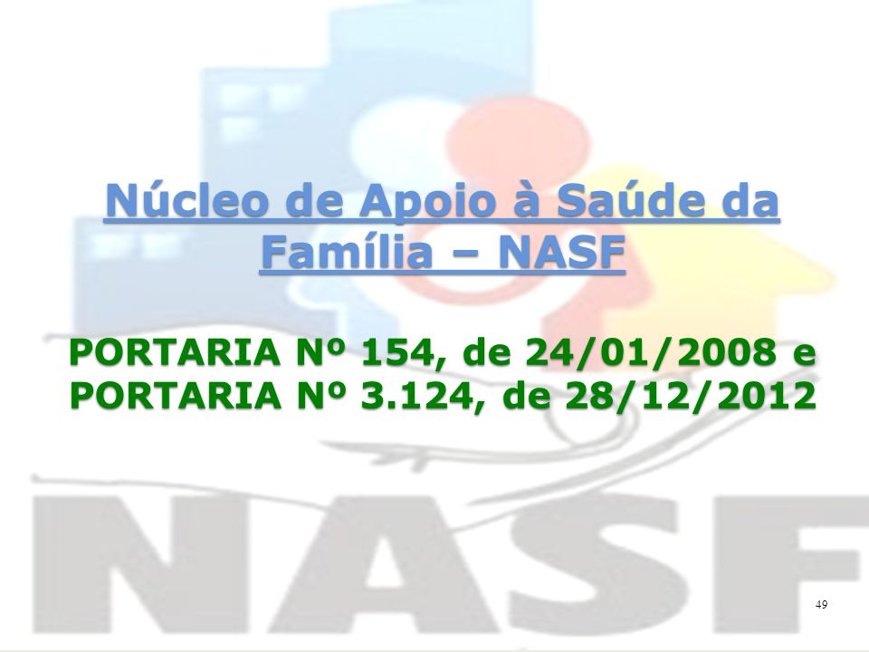 Núcleo de Apoio à Saúde da Família – NASF PORTARIA Nº 154, de 24/01/2008 e PORTARIA Nº 3.124, de 28/12/2012