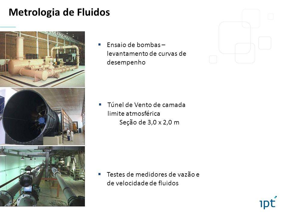 Metrologia de Fluidos Ensaio de bombas – levantamento de curvas de desempenho. Túnel de Vento de camada limite atmosférica.