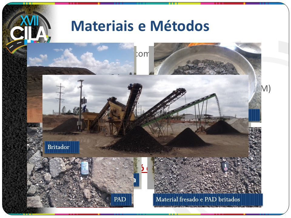 Materiais e Métodos Depósito de fresado. Material fresado. PAD. Material fresado e PAD britados.