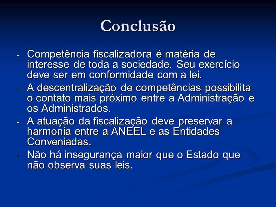Conclusão Competência fiscalizadora é matéria de interesse de toda a sociedade. Seu exercício deve ser em conformidade com a lei.