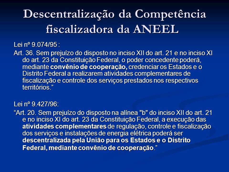 Descentralização da Competência fiscalizadora da ANEEL