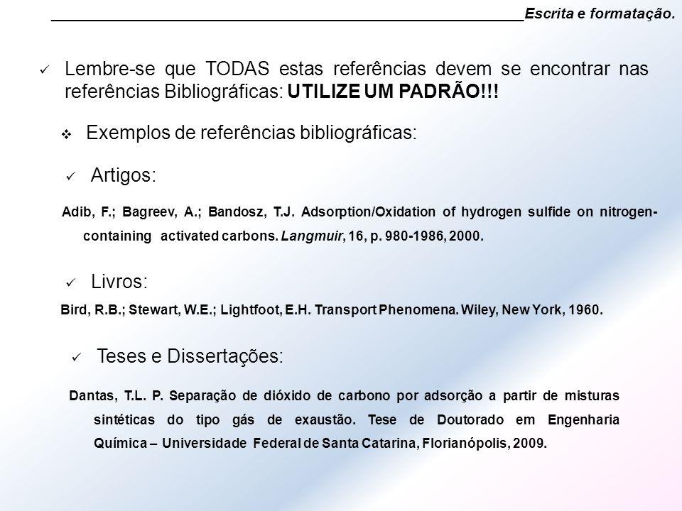 Exemplos de referências bibliográficas: