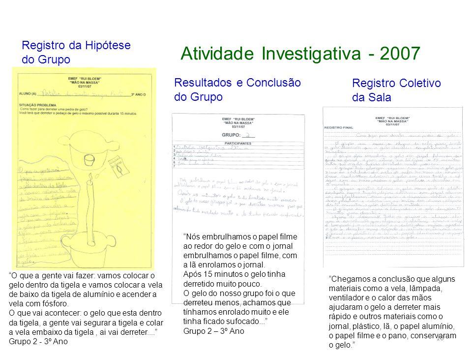 Atividade Investigativa - 2007