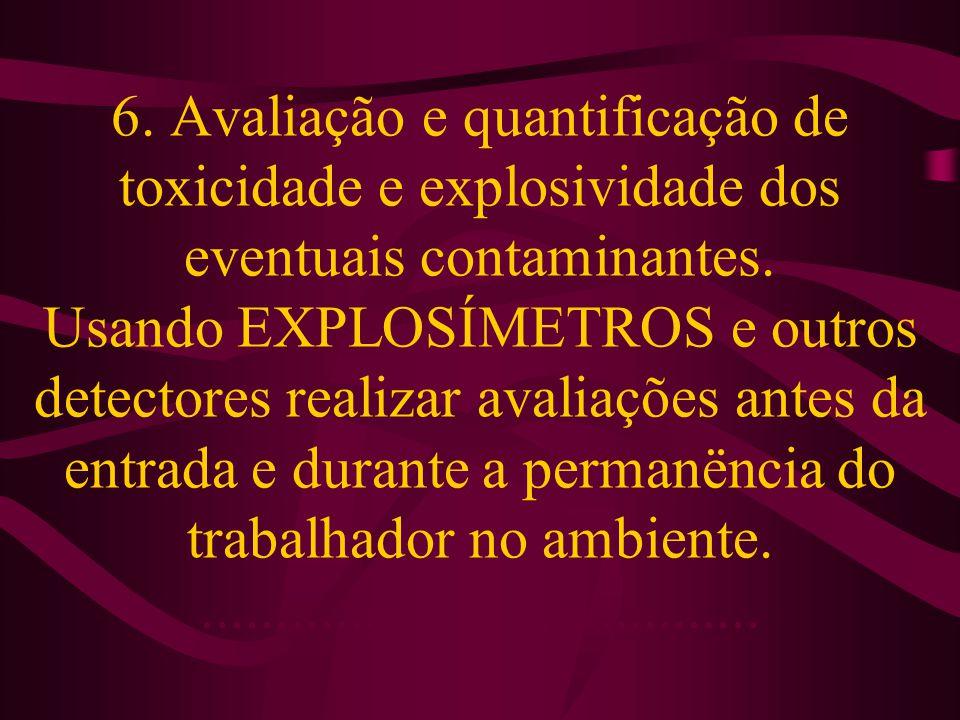 6. Avaliação e quantificação de toxicidade e explosividade dos eventuais contaminantes.