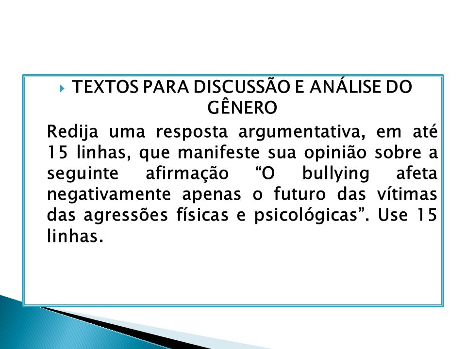 TEXTOS PARA DISCUSSÃO E ANÁLISE DO GÊNERO
