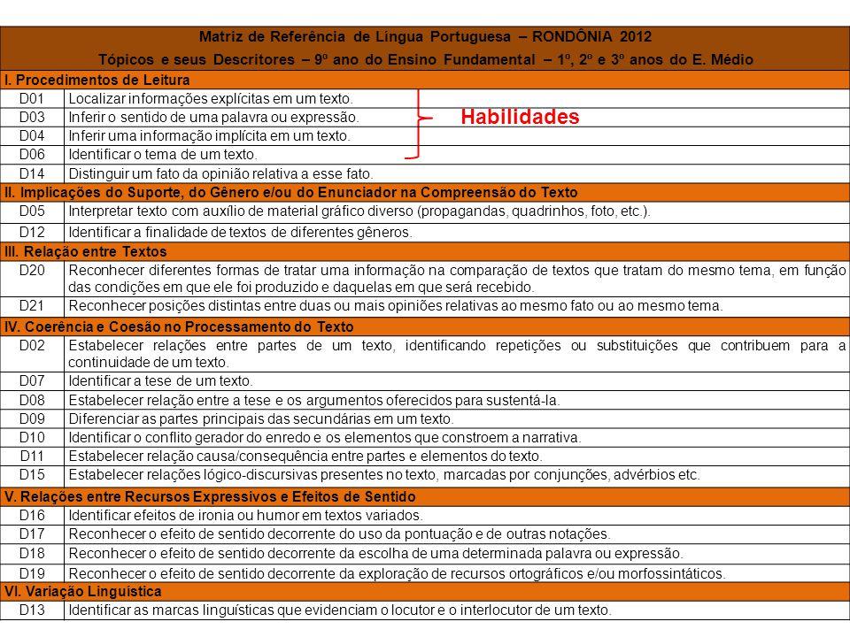 Matriz de Referência de Língua Portuguesa – RONDÔNIA 2012