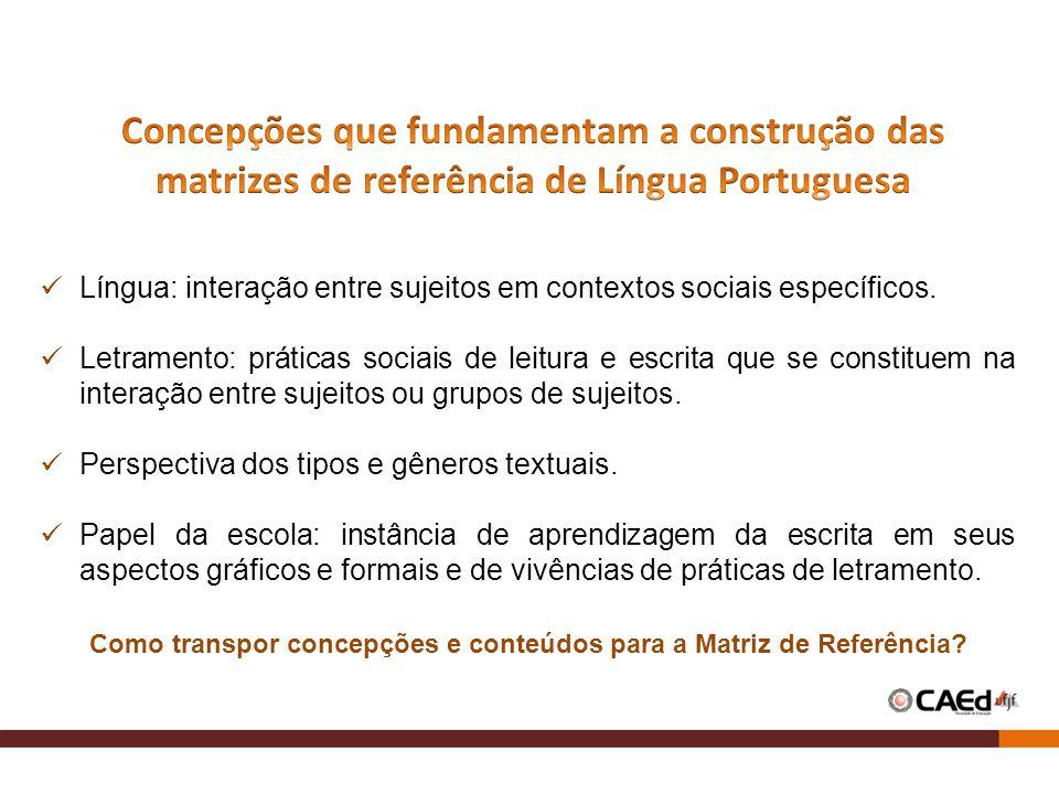Concepções que fundamentam a construção das matrizes de referência de Língua Portuguesa