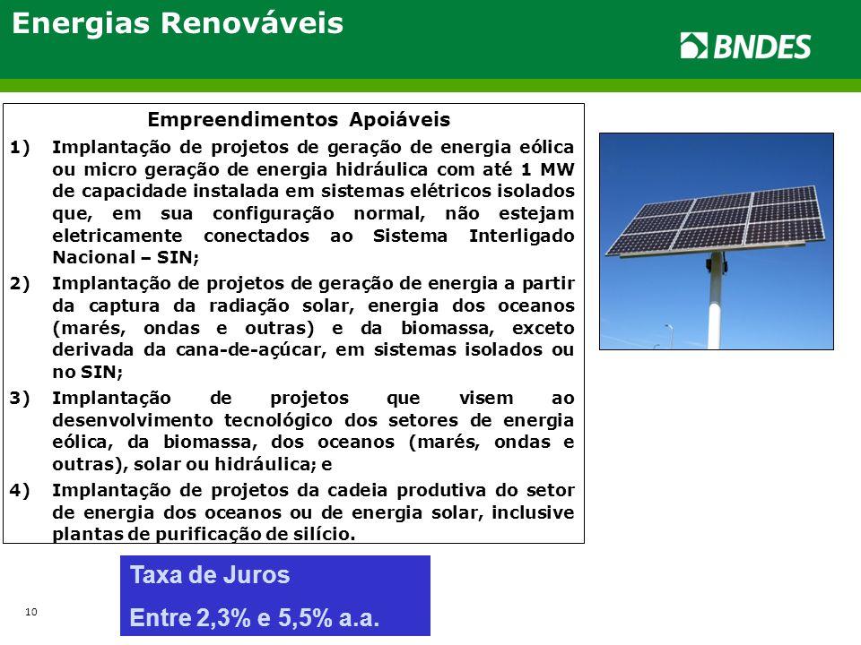 Energias Renováveis Taxa de Juros Entre 2,3% e 5,5% a.a.