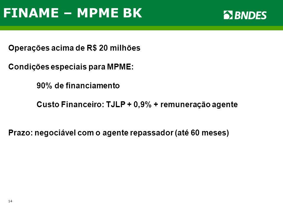 FINAME – MPME BK Operações acima de R$ 20 milhões