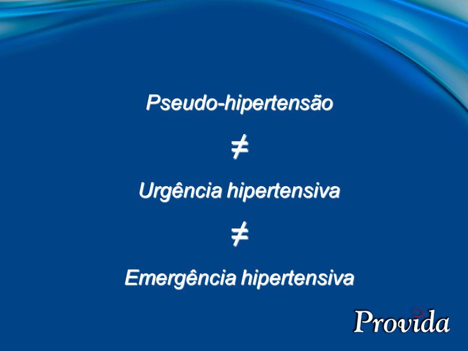 Pseudo-hipertensão ≠ Urgência hipertensiva Emergência hipertensiva