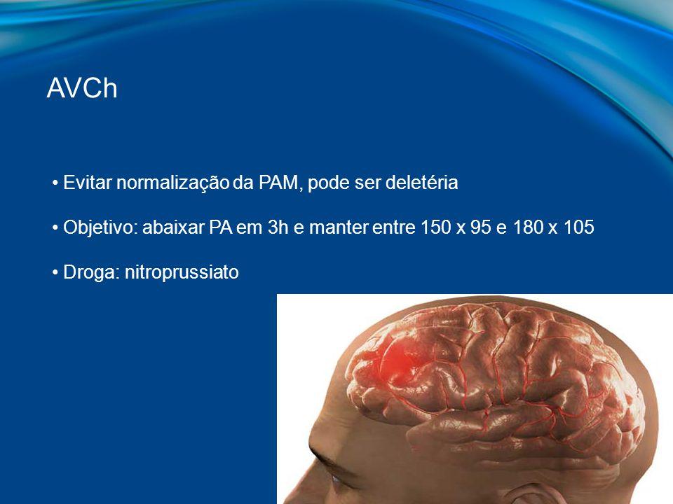 AVCh Evitar normalização da PAM, pode ser deletéria