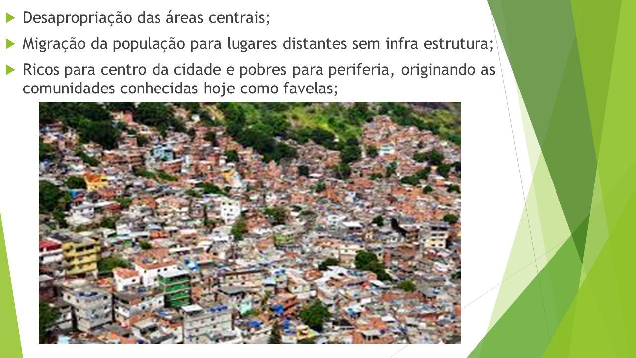 Desapropriação das áreas centrais;