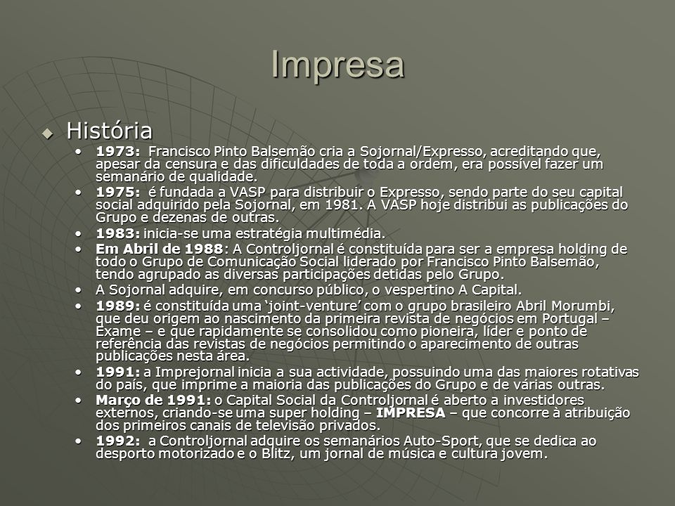 Impresa História.