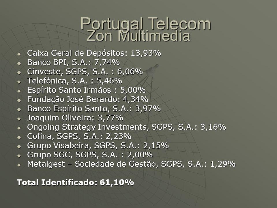Portugal Telecom Zon Multimedia Caixa Geral de Depósitos: 13,93%