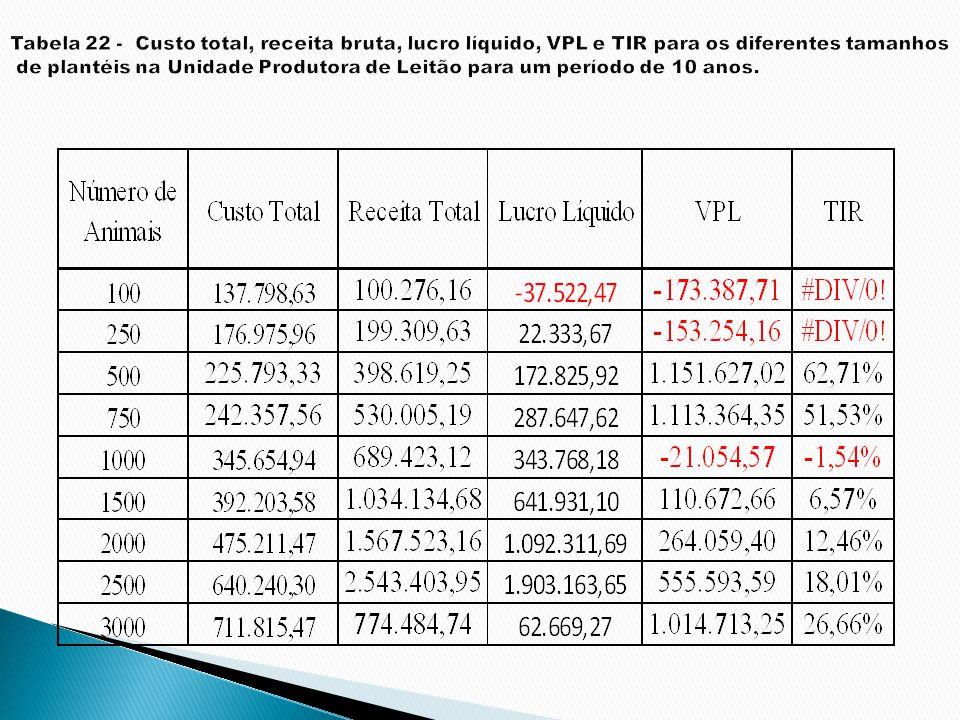 Tabela 22 - Custo total, receita bruta, lucro líquido, VPL e TIR para os diferentes tamanhos