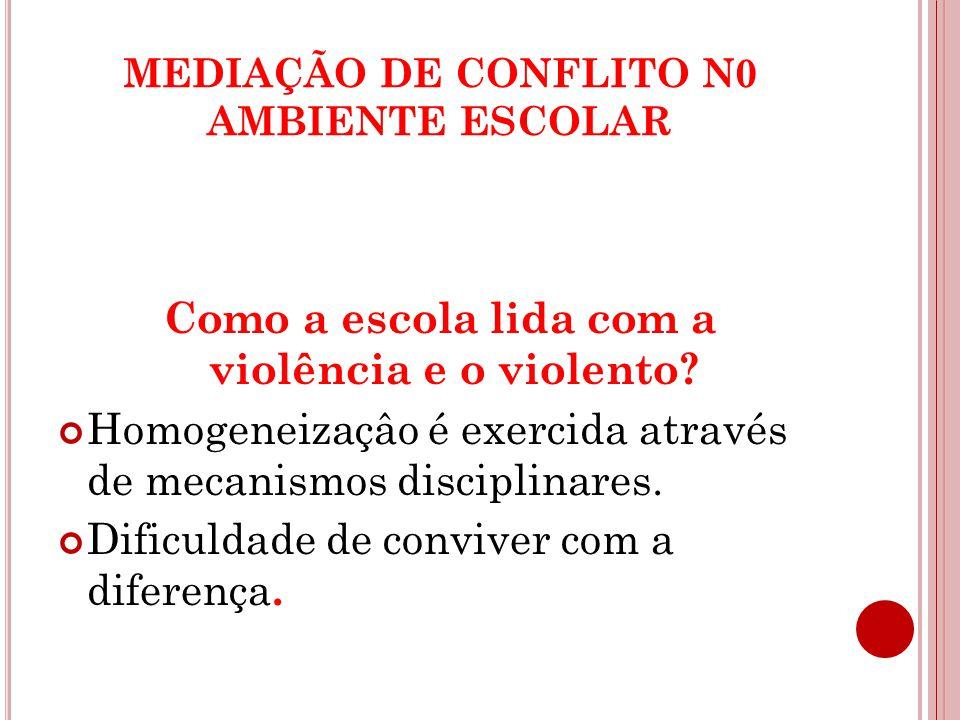 MEDIAÇÃO DE CONFLITO N0 AMBIENTE ESCOLAR