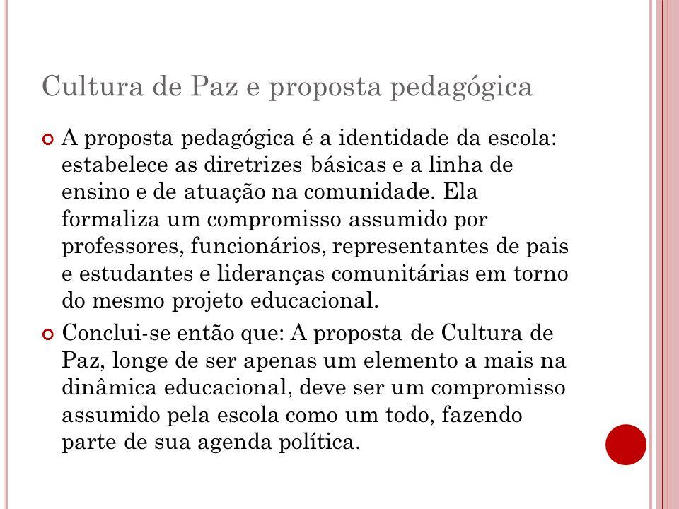 Cultura de Paz e proposta pedagógica