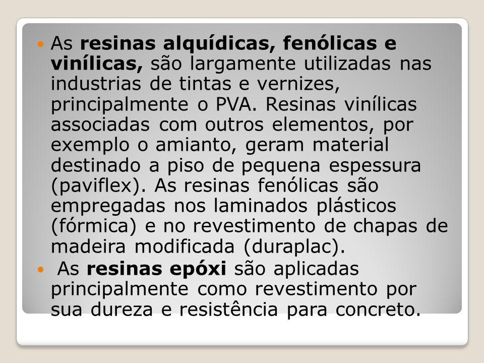 As resinas alquídicas, fenólicas e vinílicas, são largamente utilizadas nas industrias de tintas e vernizes, principalmente o PVA. Resinas vinílicas associadas com outros elementos, por exemplo o amianto, geram material destinado a piso de pequena espessura (paviflex). As resinas fenólicas são empregadas nos laminados plásticos (fórmica) e no revestimento de chapas de madeira modificada (duraplac).