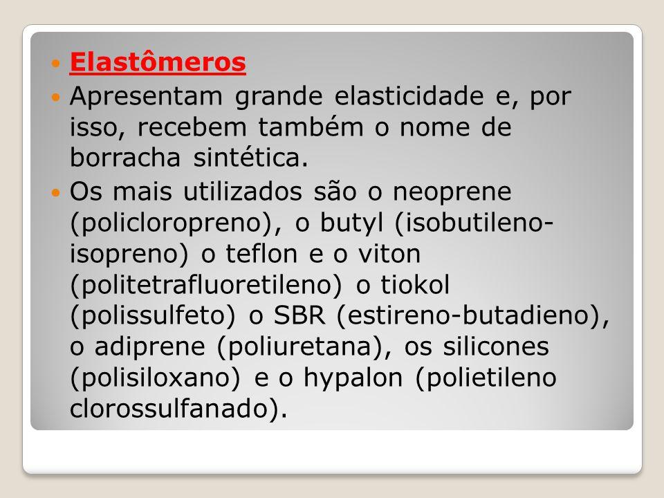 Elastômeros Apresentam grande elasticidade e, por isso, recebem também o nome de borracha sintética.