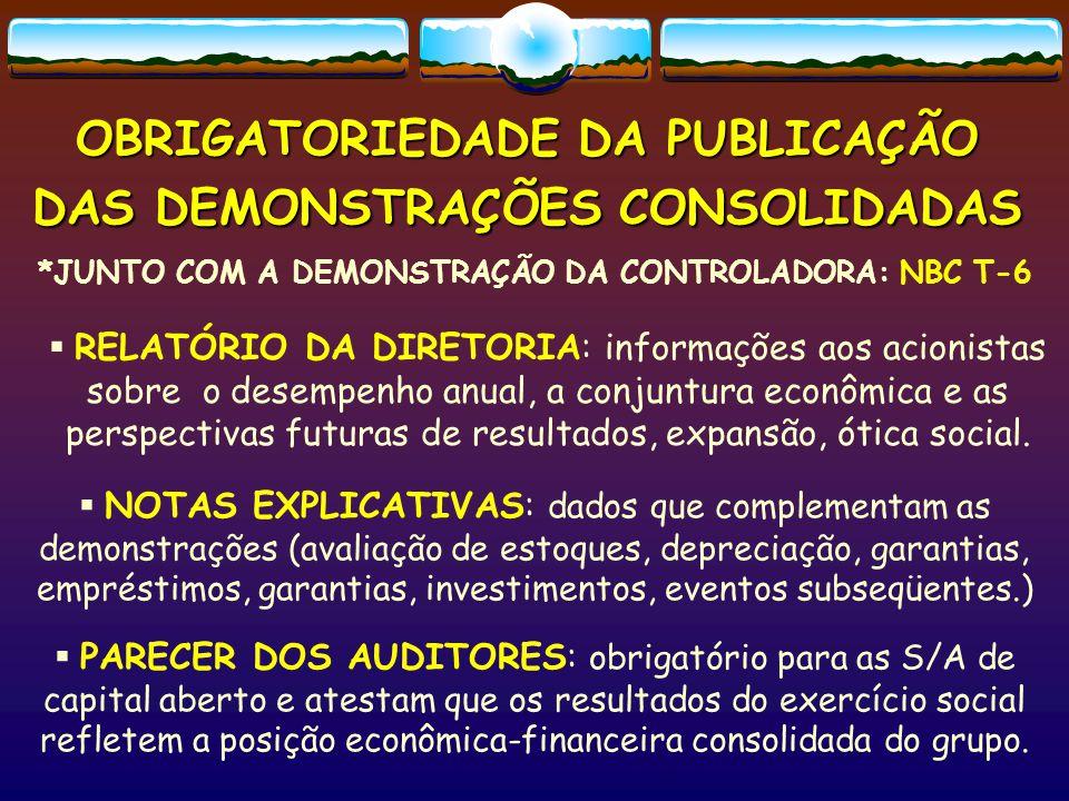 OBRIGATORIEDADE DA PUBLICAÇÃO DAS DEMONSTRAÇÕES CONSOLIDADAS