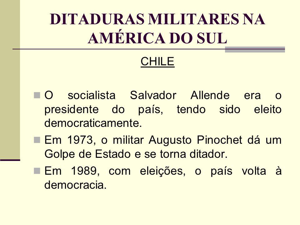 DITADURAS MILITARES NA AMÉRICA DO SUL
