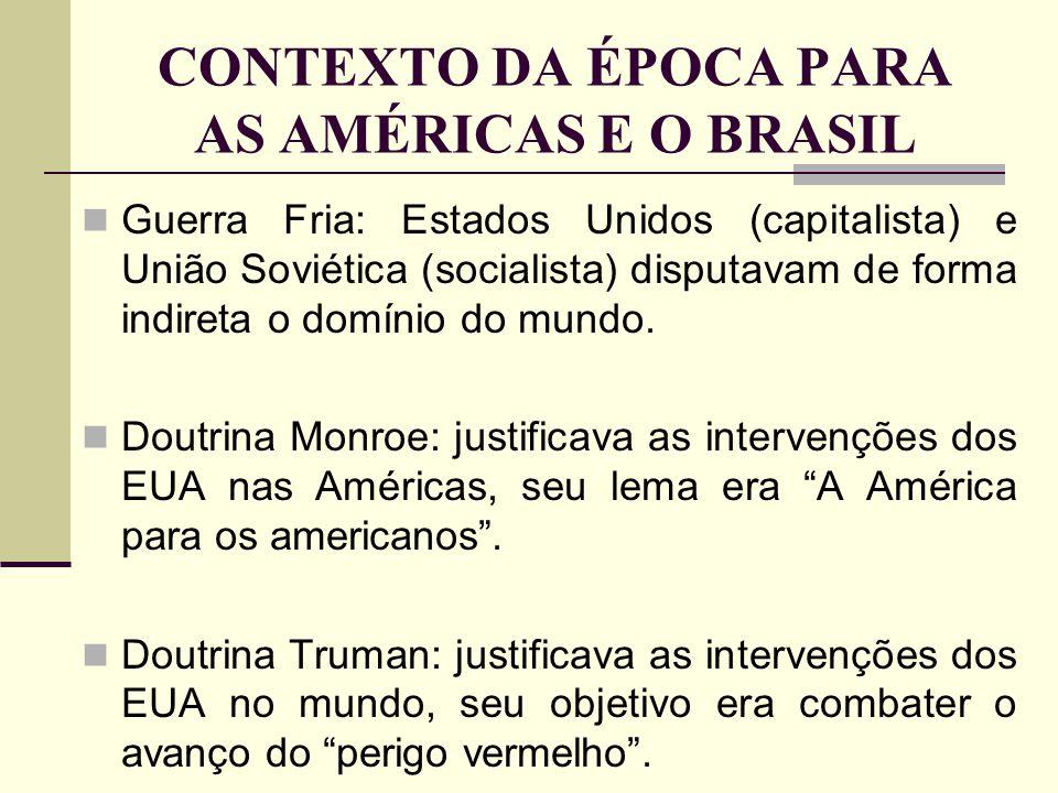 CONTEXTO DA ÉPOCA PARA AS AMÉRICAS E O BRASIL