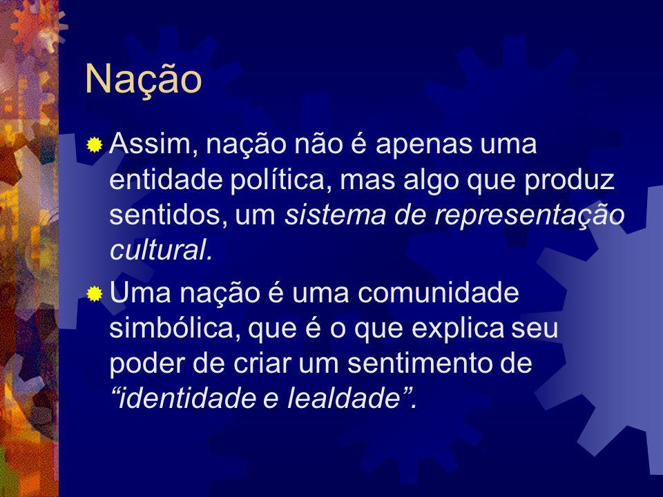 Nação Assim, nação não é apenas uma entidade política, mas algo que produz sentidos, um sistema de representação cultural.