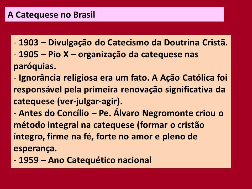 A Catequese no Brasil 1903 – Divulgação do Catecismo da Doutrina Cristã. 1905 – Pio X – organização da catequese nas paróquias.