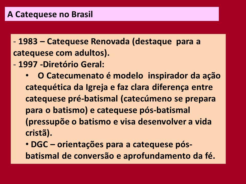 A Catequese no Brasil 1983 – Catequese Renovada (destaque para a catequese com adultos). 1997 -Diretório Geral: